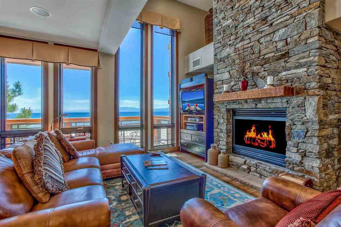 Tonapolo Lakefront Living Room Fireplace Tahoe